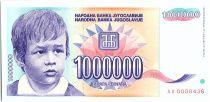 Yougoslavie 1000000 dinara - Enfant et fleur - 1993