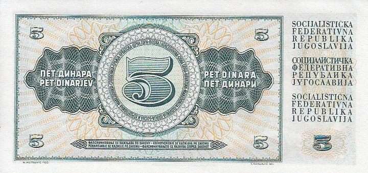 Yougoslavie 5 Dinara - Paysanne - Valeur facial - 1968