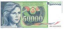 Yougoslavie 50000 Dinara Jeune Femme, armoiries