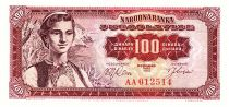 Yugoslavia 100 Dinara  - Young woman, Dubrovnik - 1955 AA