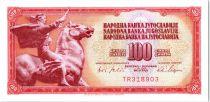 Yugoslavia 100 Dinara - Equestrian statue Peace of Augustincic - 1965