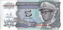 Zaïre  5 Nvx Makuta, Pdt Mobutu - Monument - 1993