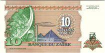 Zaire 10 Nvx Makuta Makuta, Pdt Mobutu - Pyramid - 1993