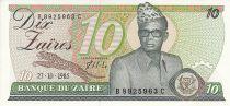 Zaire 10 Zaires - President Mobutu - Torch - 1985