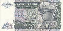 Zaire 100000 Zaires -  Presidente Sese Seko Mobutu - Cúpula - 1992
