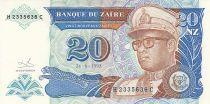 Zaire 20 Nvx  Zaires - Presidente Sese Seko Mobutu - Edificio - 1993