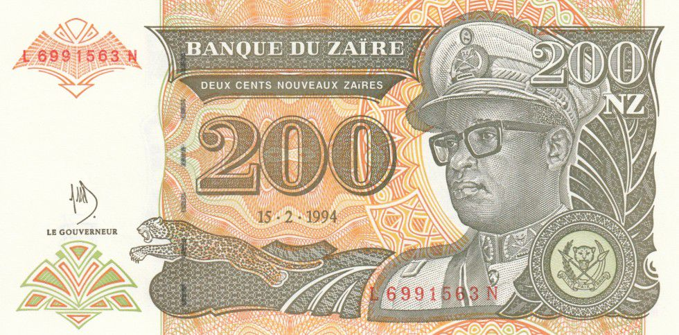 Zaire 200 Nvx Zaires Zaires, Pdt Mobutu, leopard - Man and strucutre in water - 1994
