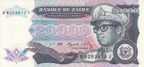 Zaire 20000 Zaire - President Sese Seko Mobutu - Banco de Zaïre - 1991