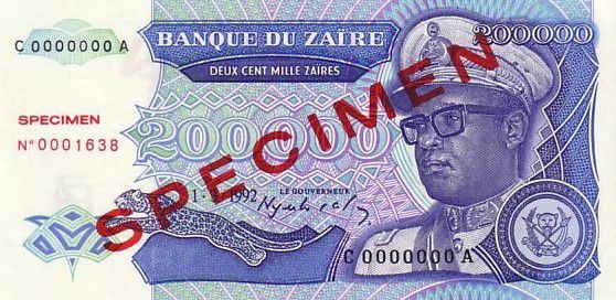 Zaire 200000 Zaire Pdt Mobutu - Civil building - 1992