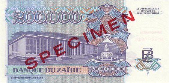 Zaire 200000 Zaire Pdt Mobutu - Civil building - 1992