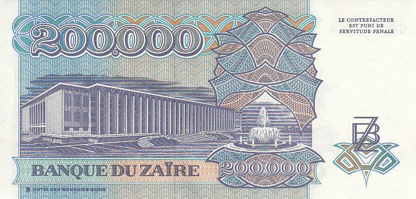 Zaïre 200000 Zaires -  Président Sese Seko Mobutu - Immeuble - 1992