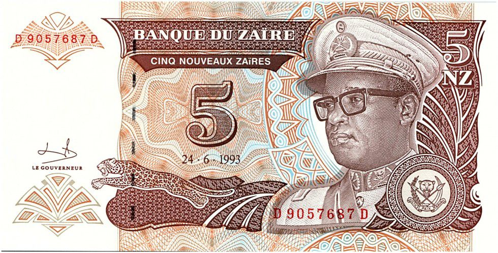 Zaïre 5 Nvx Zaires Zaires, Pdt Mobutu - Batiment de Domed - 1993