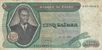 Zaire 5 Zaires 1972 - President Sese Seko Mobutu, dam