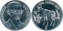 Zaïre 5 Zaires Okapi - Président Mobutu - 1975
