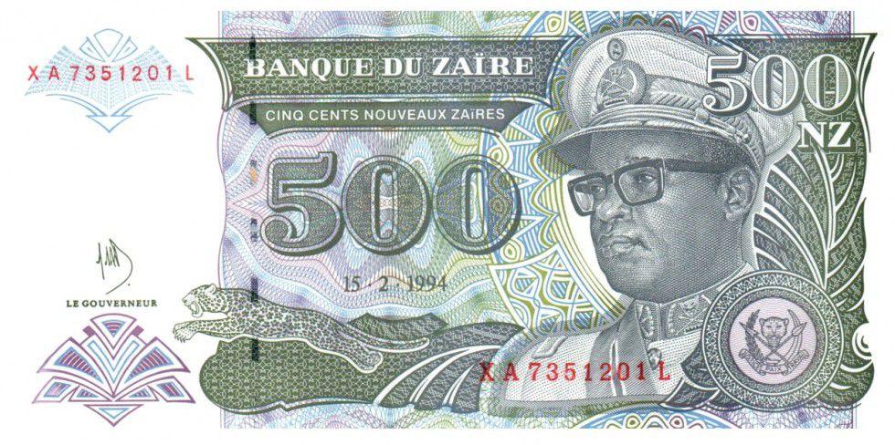 Zaïre 500 Nvx Zaires Zaires, Pdt Mobutu - Banque du Zaïre - 1994