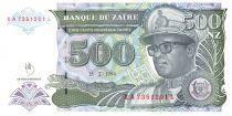 Zaire 500 Nvx Zaires Zaires, Pdt Mobutu, leopard - Bank of Zaïre - 1994