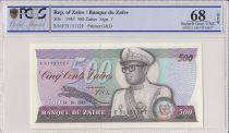 Zaire 500 Zaires 1985 - President Sese Seko Mobutu, Bridge - PCGS 68 OPQ