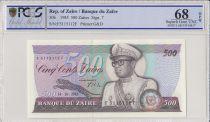 Zaïre 500 Zaires 1985 - Président Sese Seko Mobutu, pont - PCGS 68 OPQ