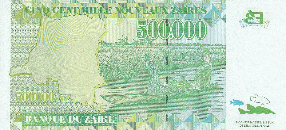 1996 P-78 Unc Zaires 500,000 Nouveaux New Zaire 500000