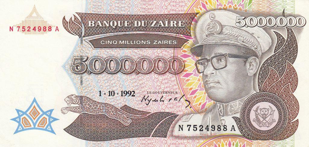 Zaïre 5000000 Zaires 1992 - Président Sese Seko Mobutu, usine