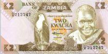 Zambia 2 Kwacha Pres K. Kaunda - school buidling -1988