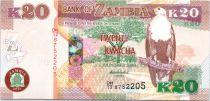 Zambia 20 Kwacha Eagle - Black Lechwe - 2014