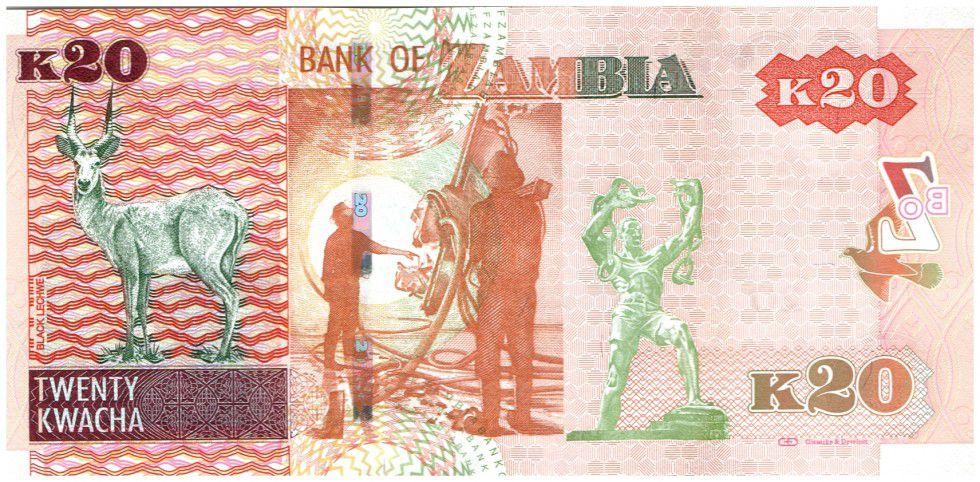 Zambia 20 Kwacha Eagle - Black Lechwe