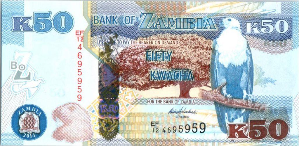 Zambia 50 Kwacha Eagle - Leopard - 2014