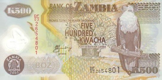 Zambia 500 Kwacha Eagle - Cotton 2005
