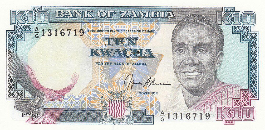 Zambie 10 Kwacha Prés. K. Kaunda - Batiment ND - 1991