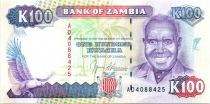 Zambie 100 Kwacha Pdt Kaunda - Chute Victoria - 1991