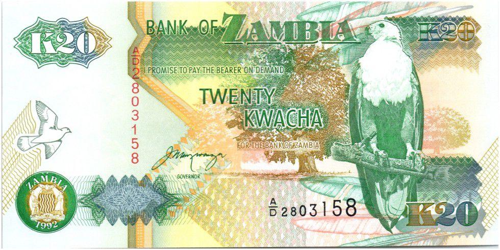Zambie 20 Kwacha Aigle - Batiment gouvernemental 1992