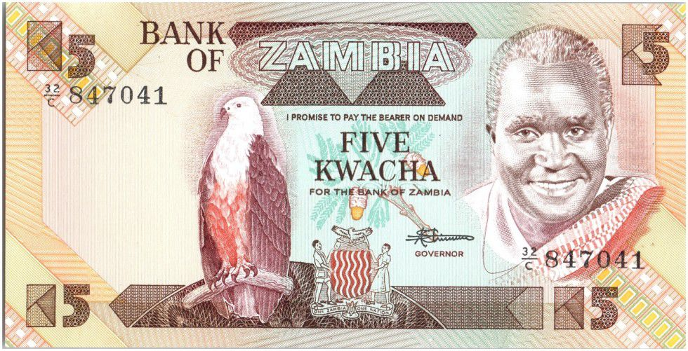 Zambie 5 Kwacha Prés. K. Kaunda - Barrage (1986-1988)