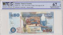 Zambie 50 Kwacha Aigle - Leopard - 2014 - PCGS 67 OPQ