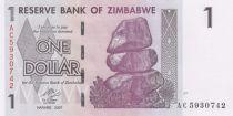 Zimbabue 1 Dollar Buffalo - Waterfall - 2008