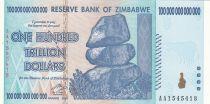 Zimbabwe 100 000 000 000 000 Dollars 2008 - Chutes d\'eau, buffle