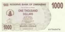 Zimbabwe 1000 Dollar Montagnes - 2006
