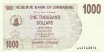 Zimbabwe 1000 Dollar Mountains - 2006