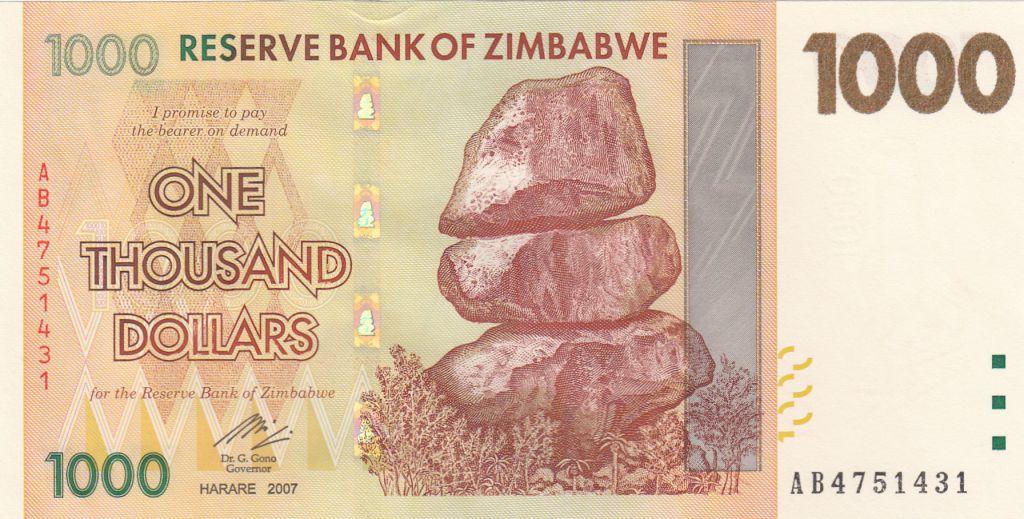 Zimbabwe 1000 Dollars  Chiremba - 2007