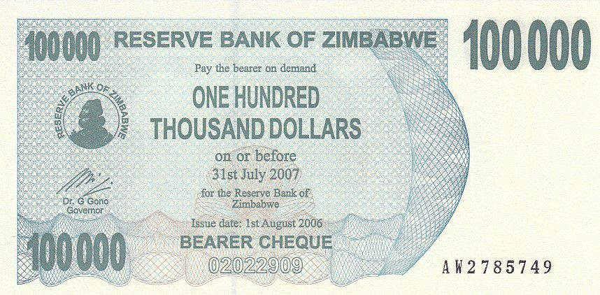 ZIMBABWE 100,000 BEARER CHEQUE 2007 P 48 P 48 AUNC