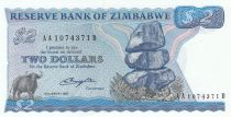 Zimbabwe 2 Dollars 1980 - Shiremba Monument, Buffalo, Fish, Dam - Salisbury