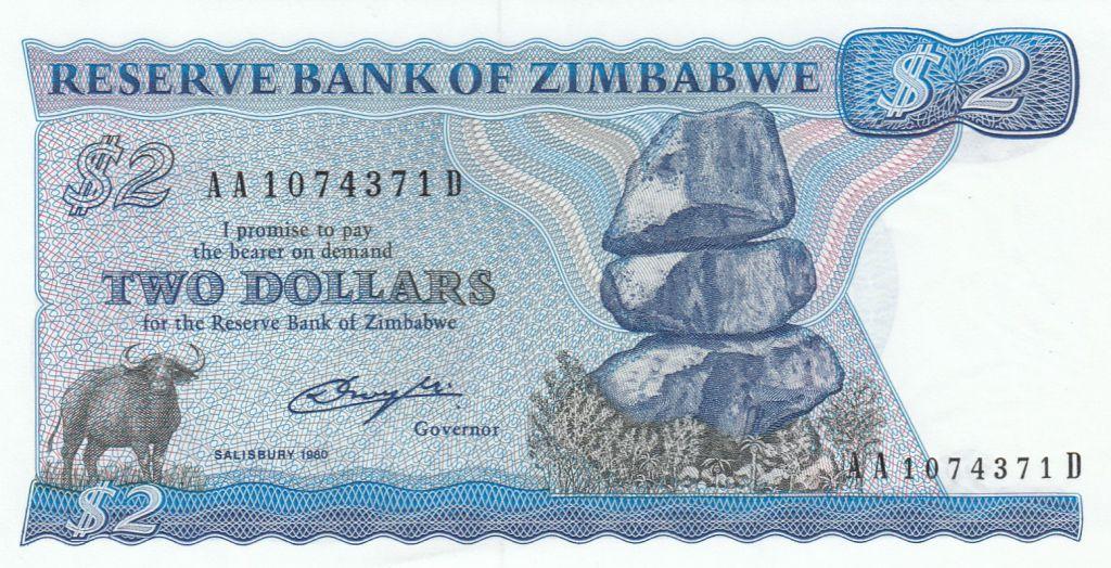 Zimbabwe 2 Dollars 1980 - Shiremba Monument, Buffle, Poisson, Barrage - Salisbury