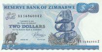 Zimbabwe 2 Dollars 1983 - Shiremba Monument, Buffle, Poisson, Barrage