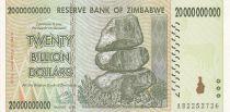 Zimbabwe 20 000 000 000 - Dollars - Chiremba - Ruines - Palmier - 2008