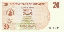 Zimbabwe 20 Dollars - Chiremba - Brown and orange - Waterfall - 2006