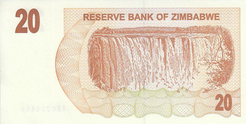 Zimbabwe 20 Dollars - Chiremba - Brown and orange - Waterfall - 2006