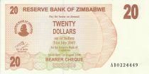 Zimbabwe 20 Dollars - Chiremba - Marron et orange - Cascade - 2006