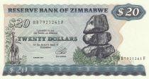 Zimbabwe 20 Dollars 1984 - Chiremba, Girafe, Eléphant, chutes d\'eau