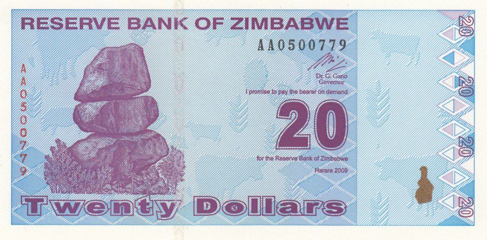 Zimbabwe 20 Dollars Chiremba - Usine - 2009