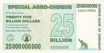 Zimbabwe 25 Millard de $ de $, Girafes, Silo
